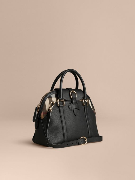 Sac bowling medium en cuir et coton House check Noir