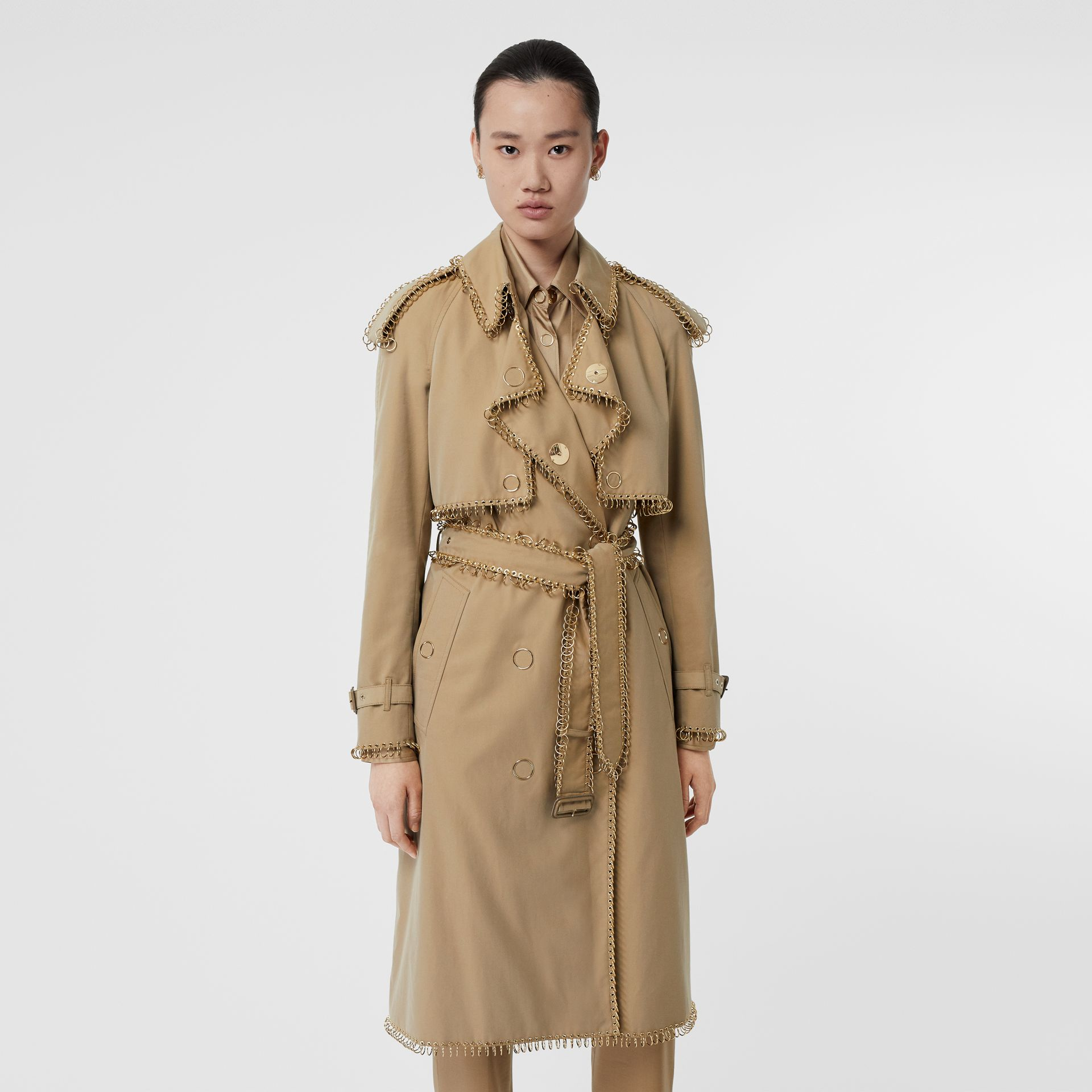 Ring-pierced Cotton Gabardine Trench Coat in Pale Honey - Women | Burberry - gallery image 0