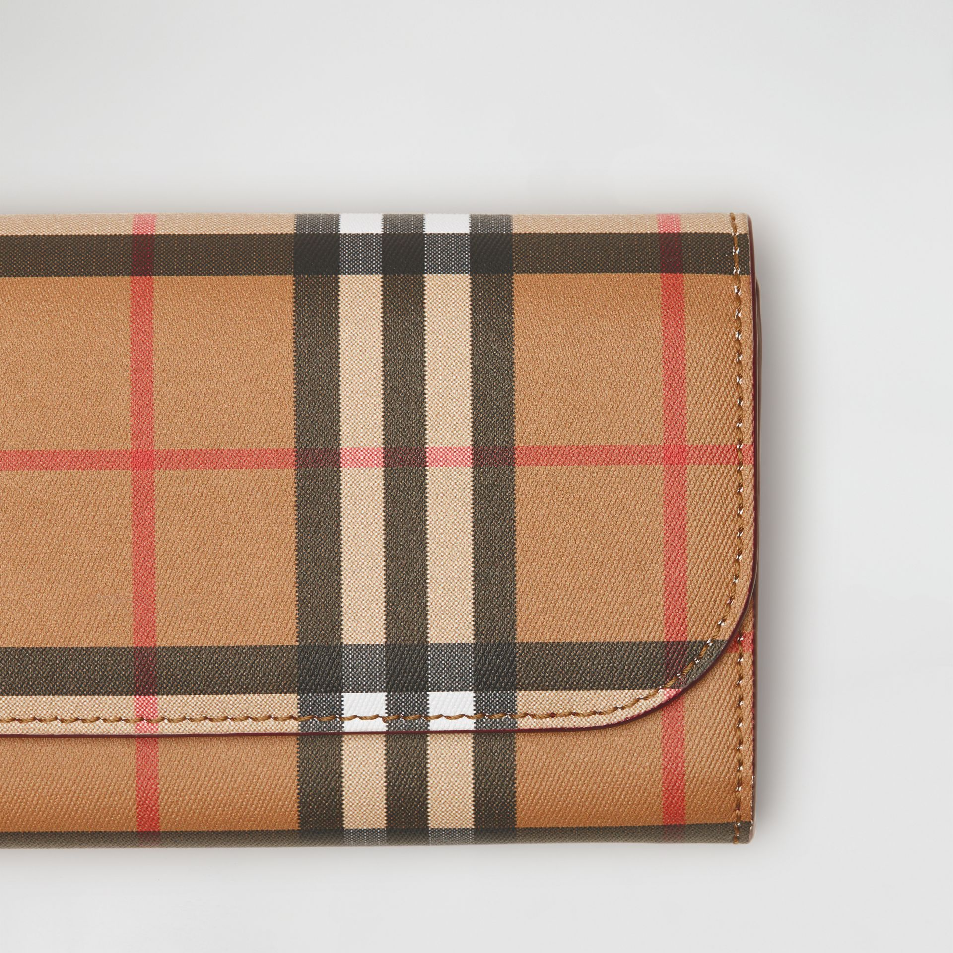 Vintage Check and Leather Continental Wallet in Crimson - Women | Burberry - gallery image 1