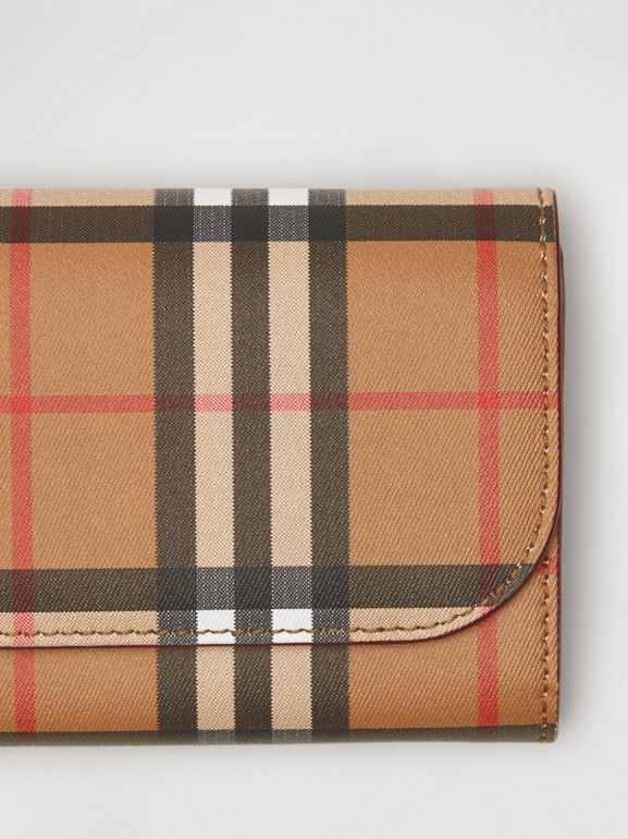 Vintage Check and Leather Continental Wallet in Crimson - Women | Burberry United States - cell image 1