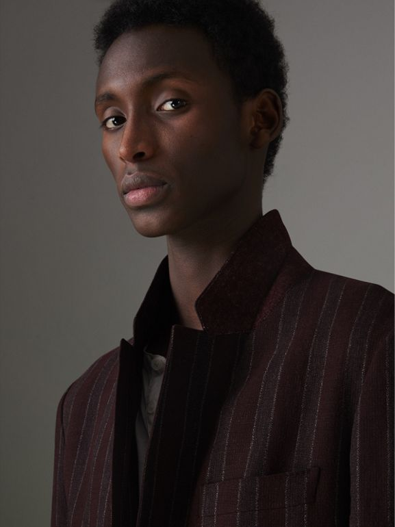 Soho Fit Striped Linen Tailored Jacket in Burgundy - Men | Burberry - cell image 1