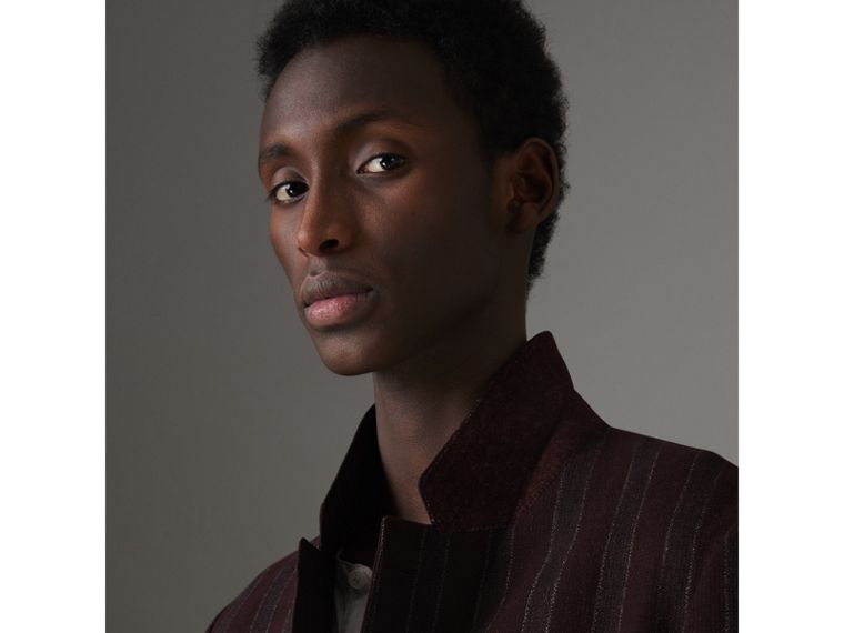 Soho Fit Striped Linen Tailored Jacket in Burgundy - Men | Burberry United States - cell image 1