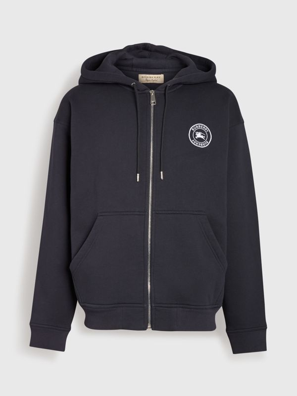 Embroidered Logo Jersey Hooded Top in Navy - Men | Burberry United Kingdom - cell image 3