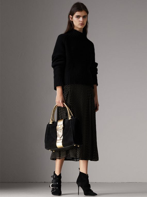 Sac tote The Buckle moyen en cuir velours et peau de serpent (Noir/or) - Femme | Burberry - cell image 2