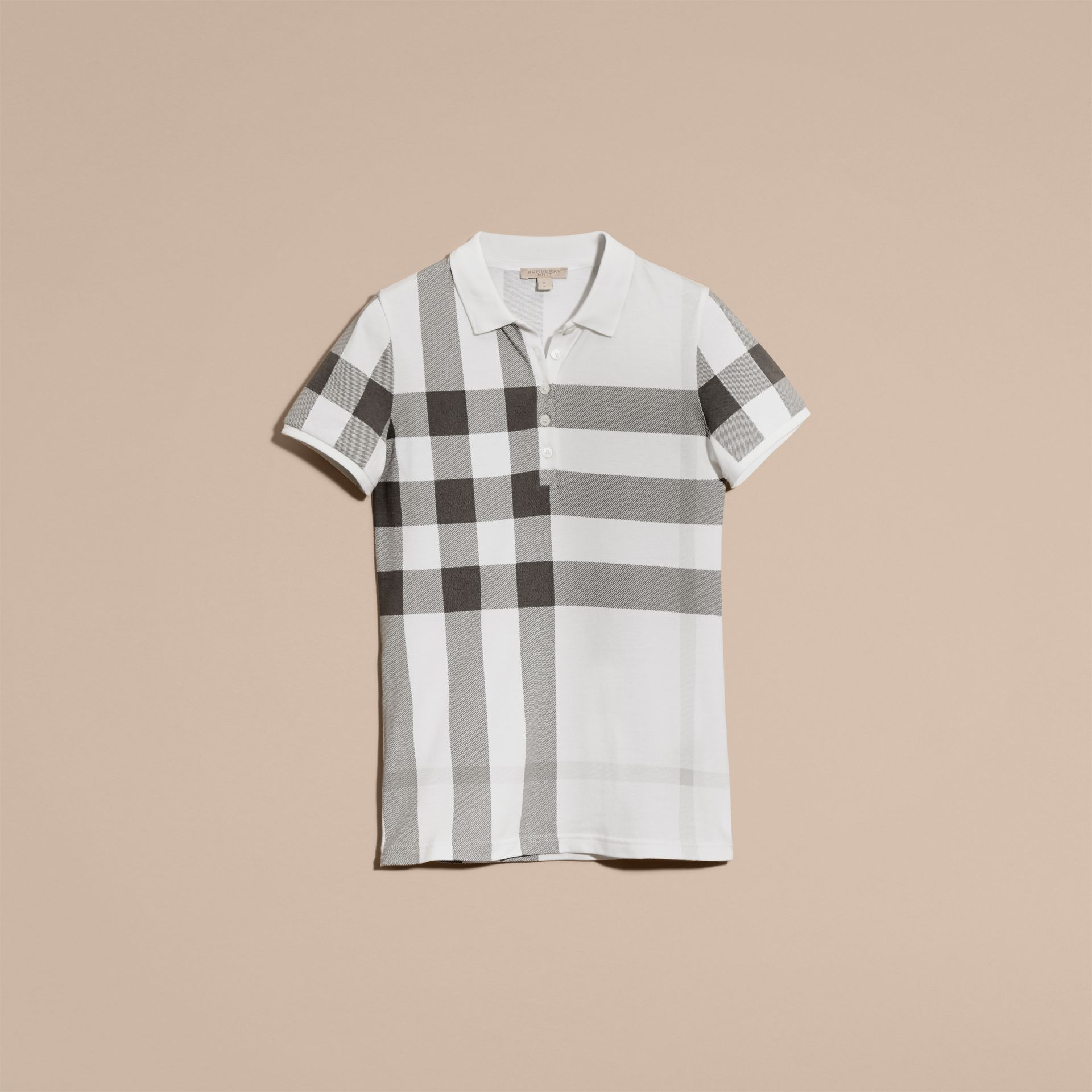 White Check Stretch Cotton Piqué Polo Shirt White - gallery image 4