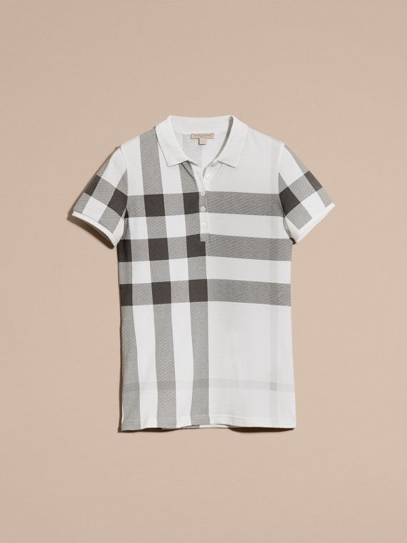 White Check Stretch Cotton Piqué Polo Shirt White - cell image 3