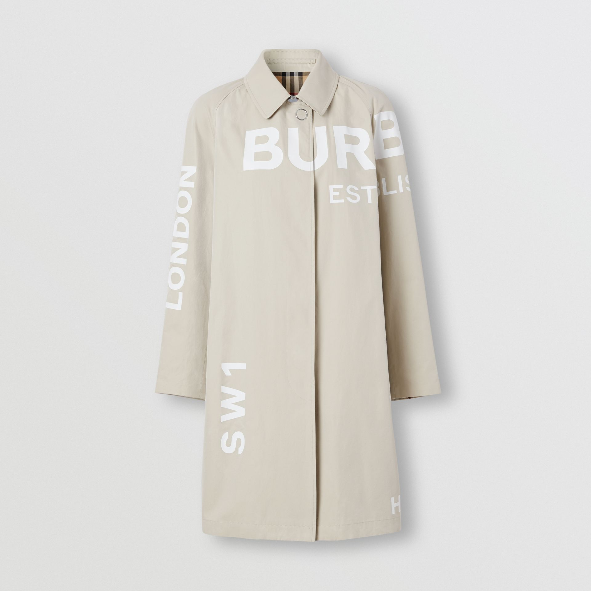 Horseferry Print Cotton Gabardine Car Coat in Stone - Women | Burberry - gallery image 3