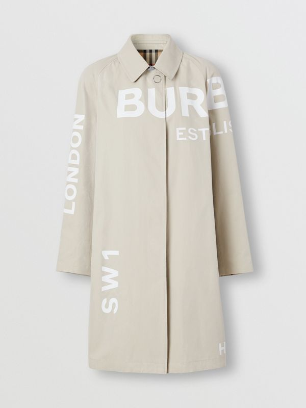 Horseferry Print Cotton Gabardine Car Coat in Stone - Women | Burberry - cell image 3