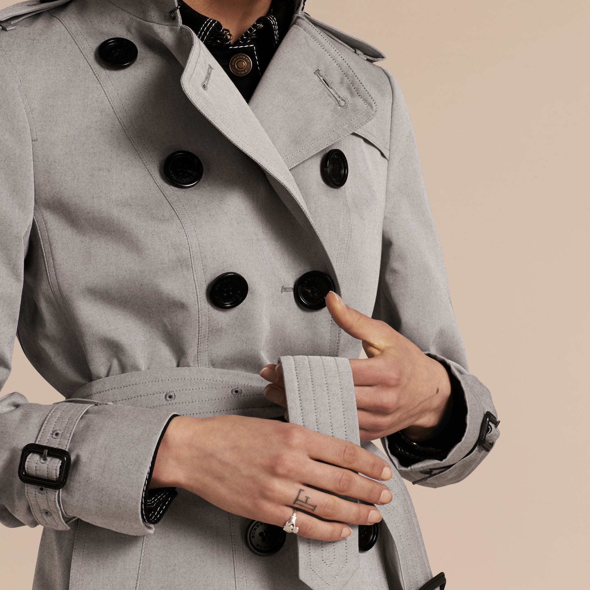 Cotton Gabardine Trench Coat Light Grey Melange - gallery image 6