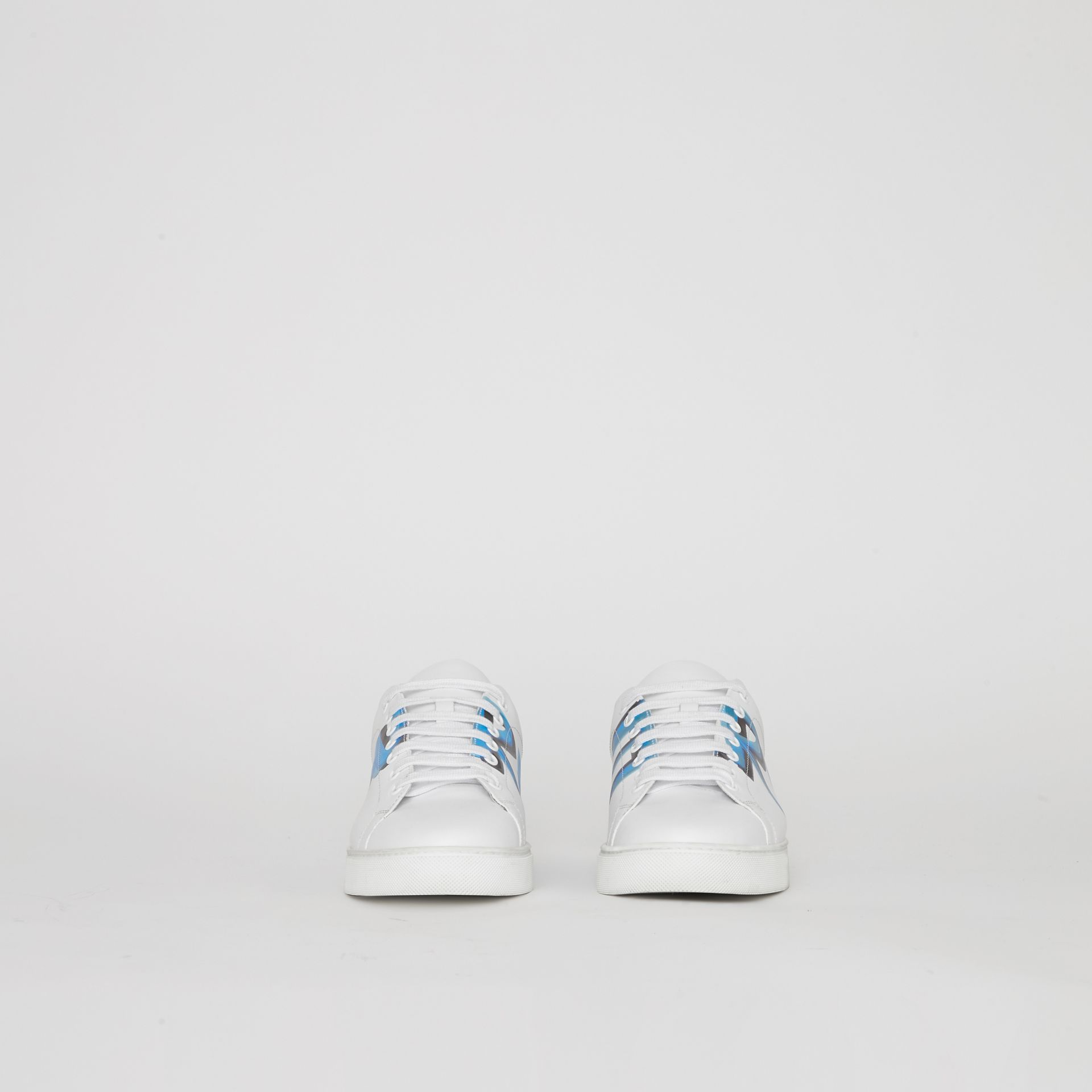 Logo Print Leather Sneakers in Optic White/bright Sky Blue - Men | Burberry Singapore - gallery image 5