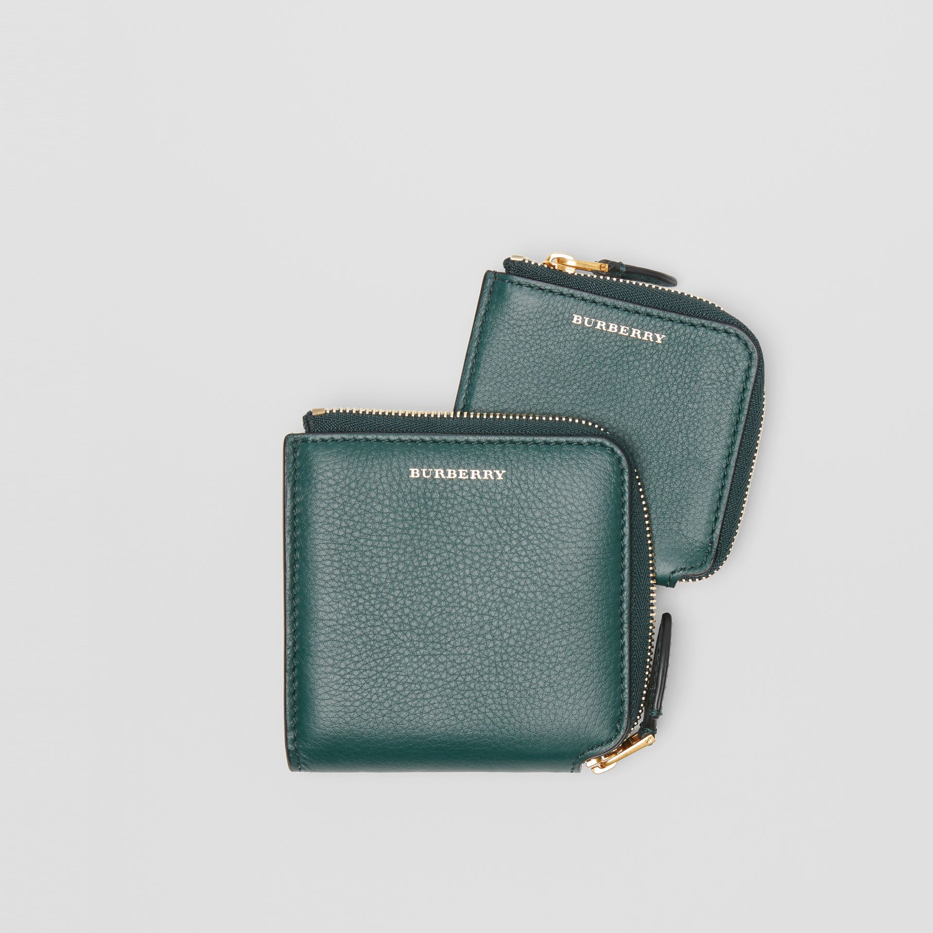 Grainy Leather Square Ziparound Wallet in Dark Cyan - Women | Burberry United Kingdom - gallery image 3
