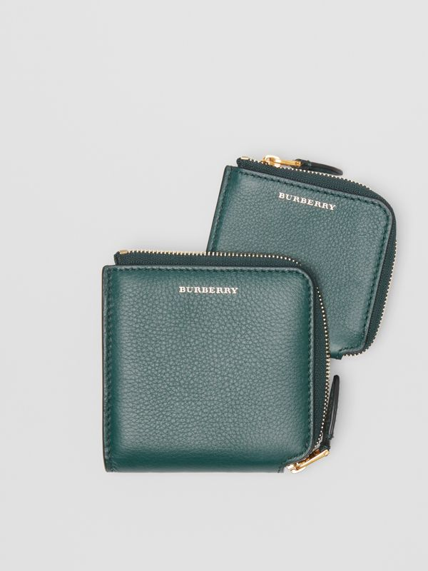 Grainy Leather Square Ziparound Wallet in Dark Cyan - Women | Burberry United Kingdom - cell image 3