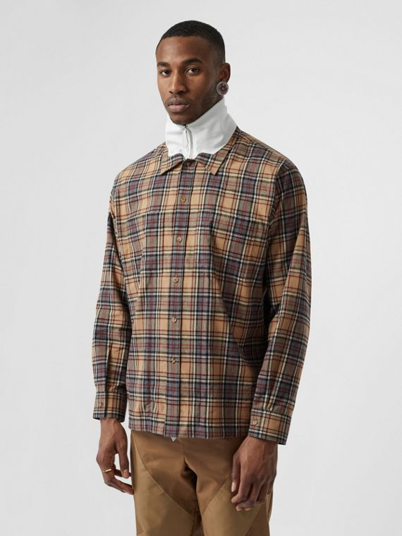 Track Top Detail Check Cotton Shirt in Camel