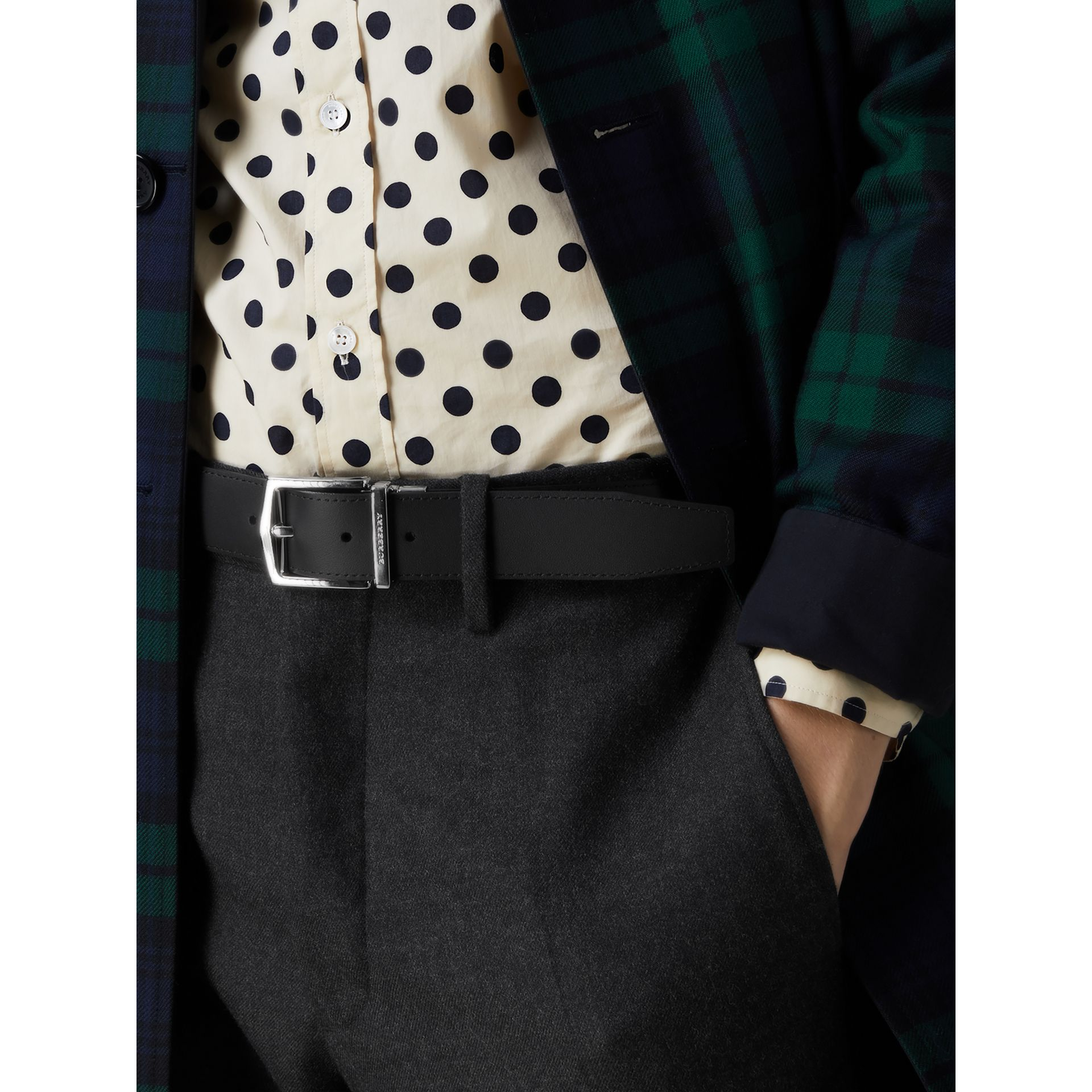Reversible London Check and Leather Belt in Navy/black - Men | Burberry - gallery image 4