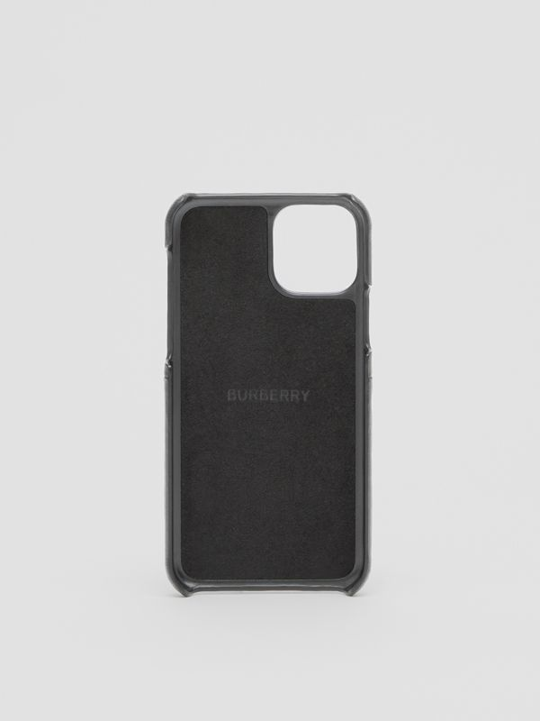 Symbol Print Leather iPhone 11 Pro Case in Black - Men | Burberry - cell image 3