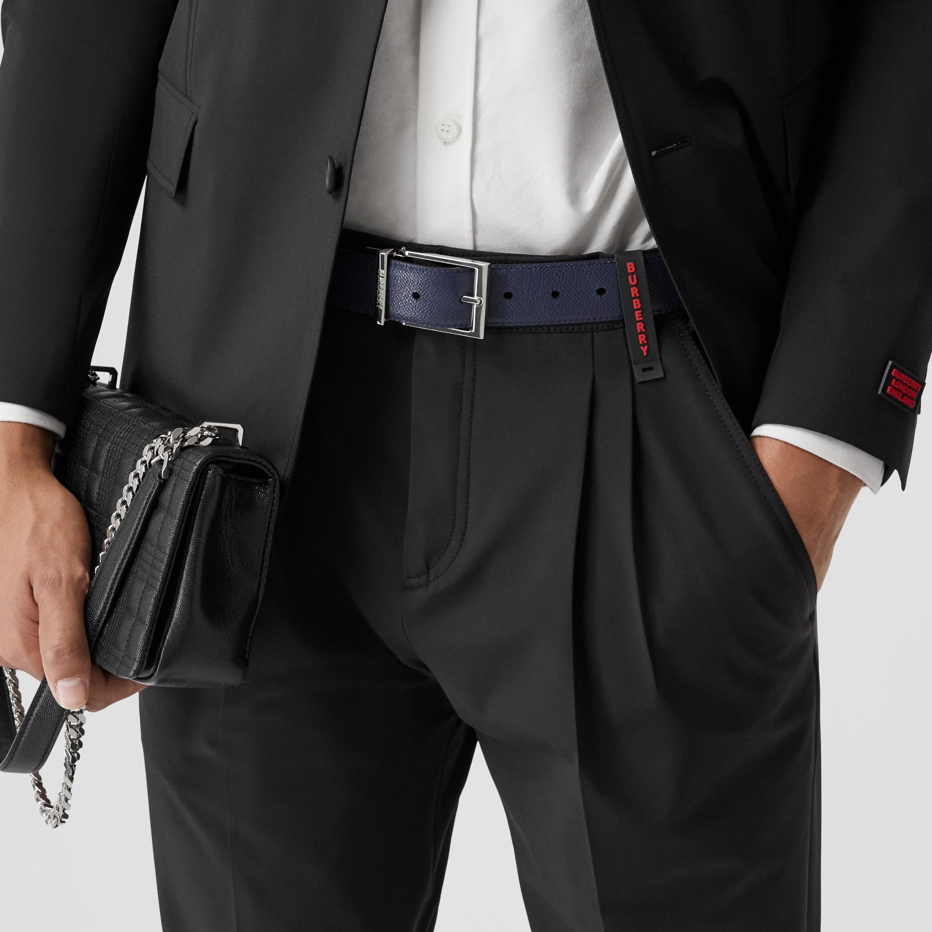 Reversible Grainy Leather Belt in Navy/black - Men | Burberry - gallery image 2