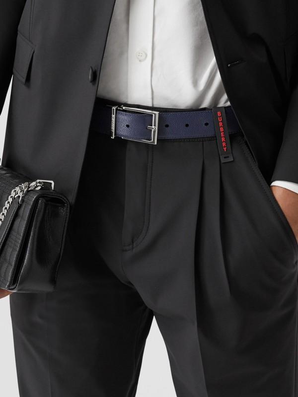 Reversible Grainy Leather Belt in Navy/black - Men | Burberry - cell image 2