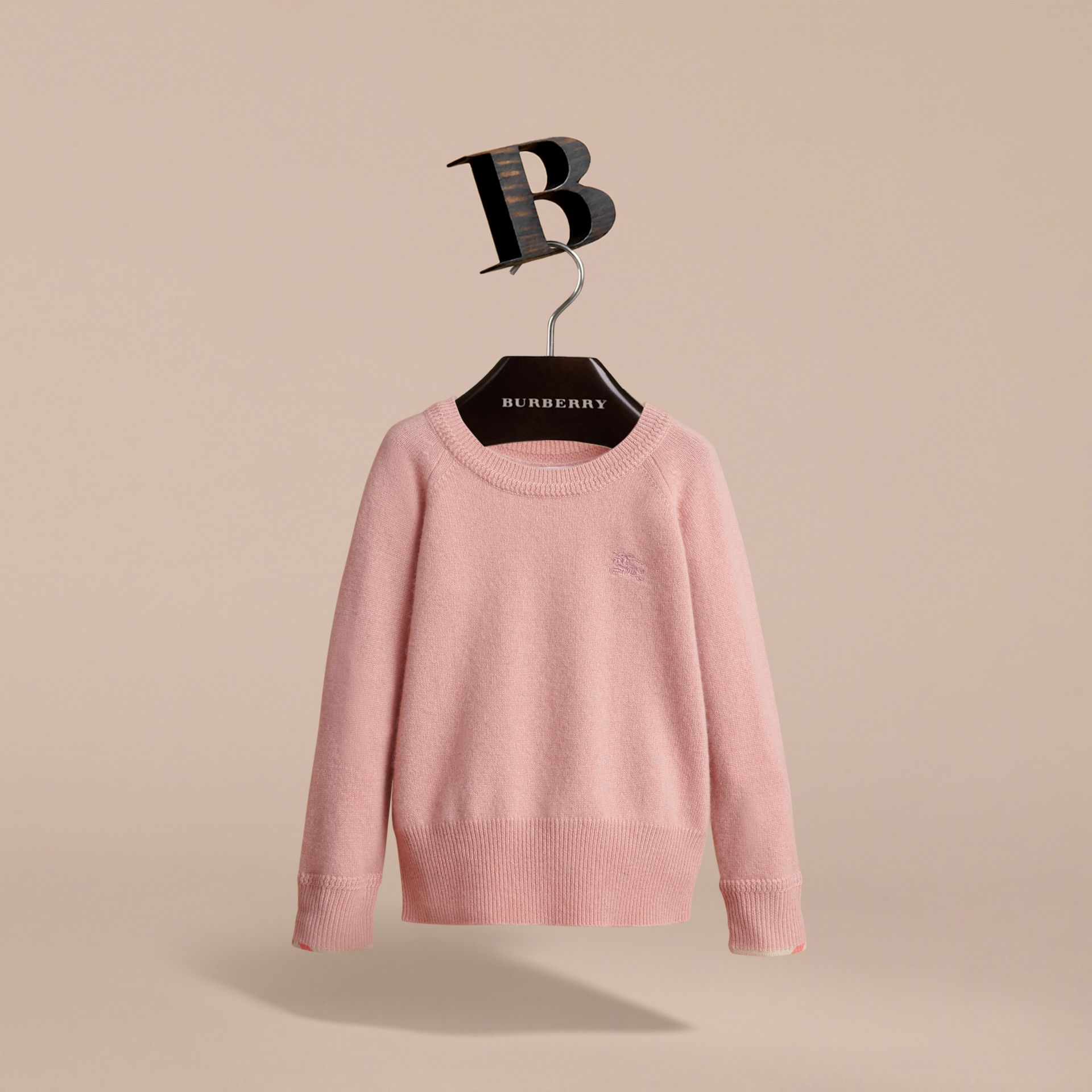 Check Detail Cashmere Sweater in Dusty Pink - Girl | Burberry Canada - gallery image 3