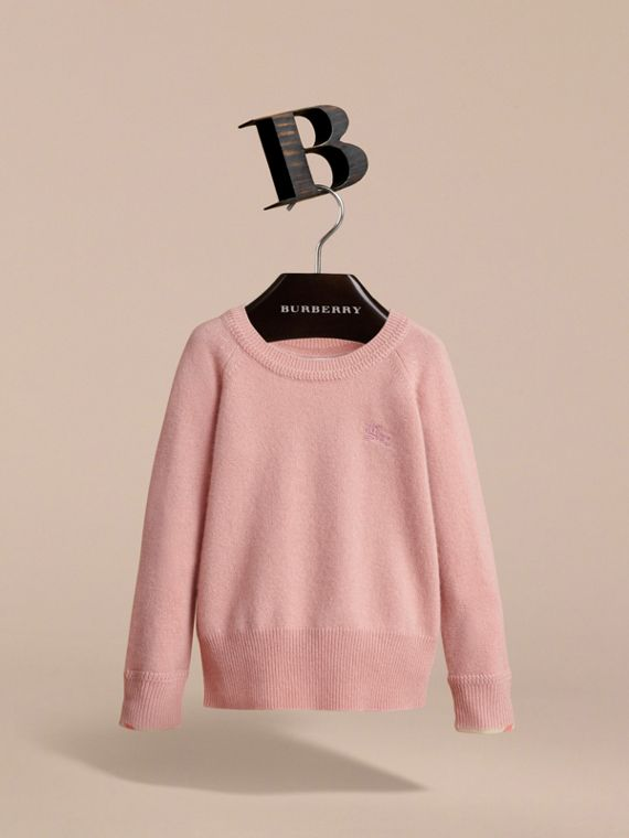 Check Detail Cashmere Sweater in Dusty Pink - Girl | Burberry Canada - cell image 2