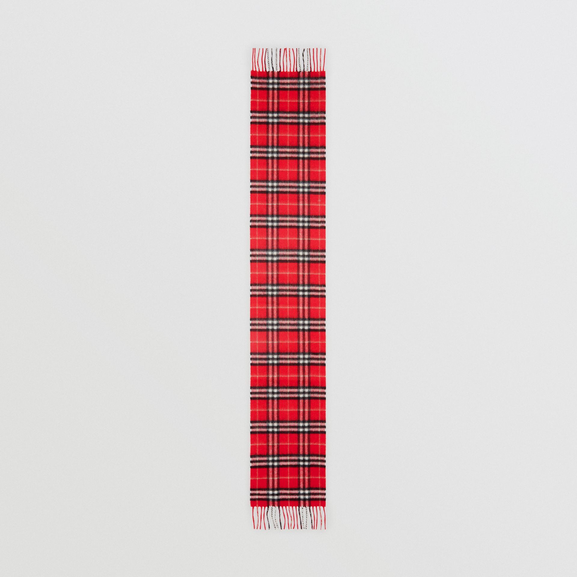 The Mini Classic Vintage Check Cashmere Scarf in Bright Red - Children | Burberry - gallery image 3