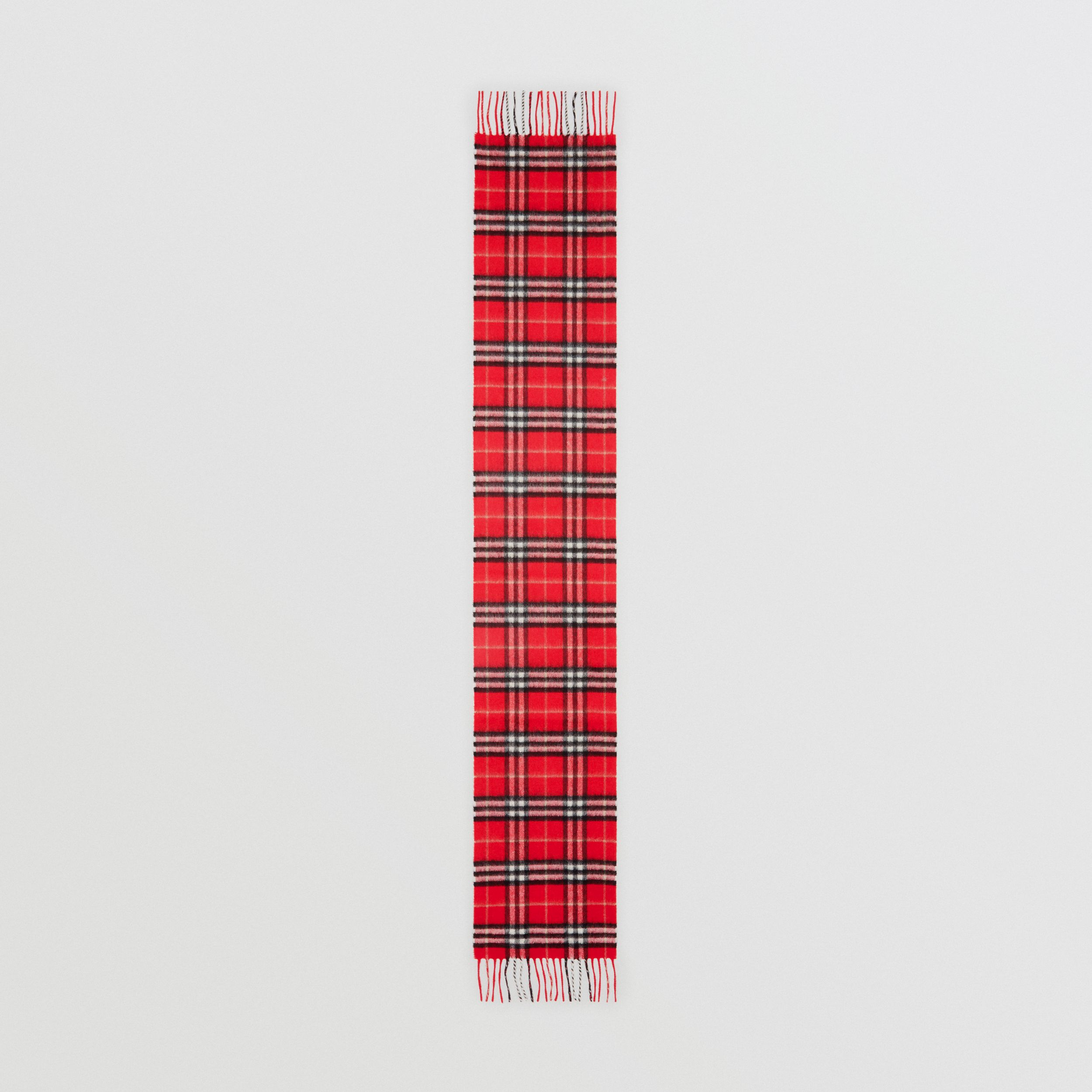 The Mini Classic Vintage Check Cashmere Scarf in Bright Red - Children | Burberry - 4