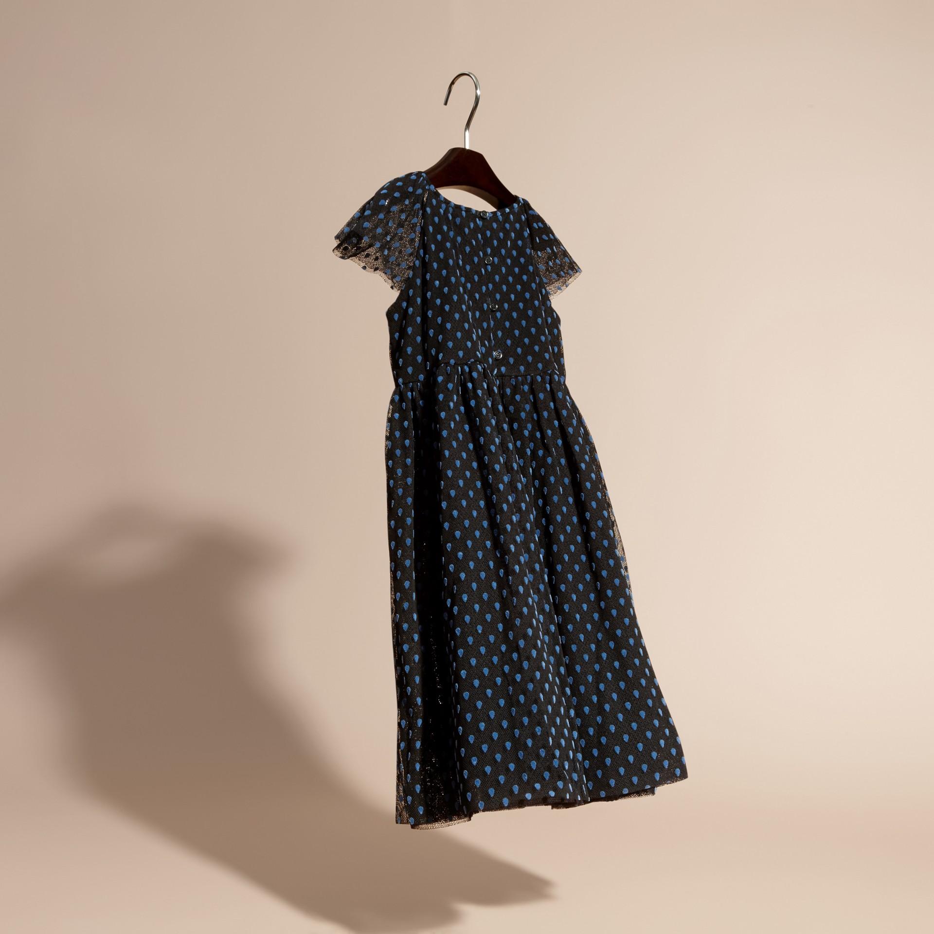 Negro Vestido de tul de algodón plisado con detalles aterciopelados - imagen de la galería 2