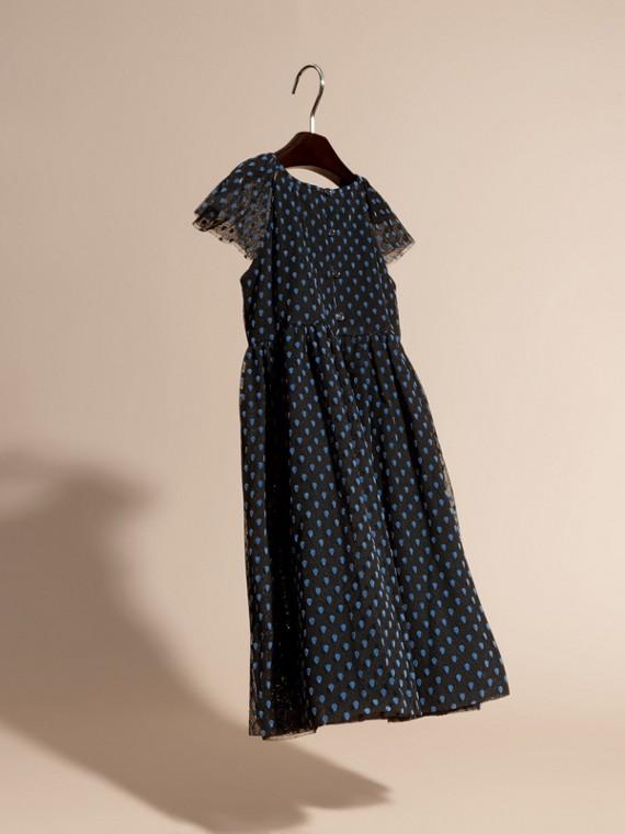 Negro Vestido de tul de algodón plisado con detalles aterciopelados - cell image 3