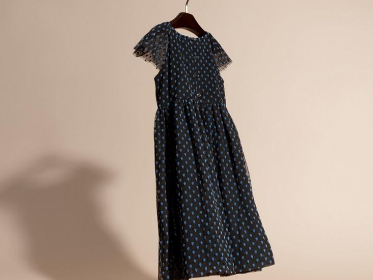 Negro Vestido de tul de algodón plisado con detalles aterciopelados - cell image 1