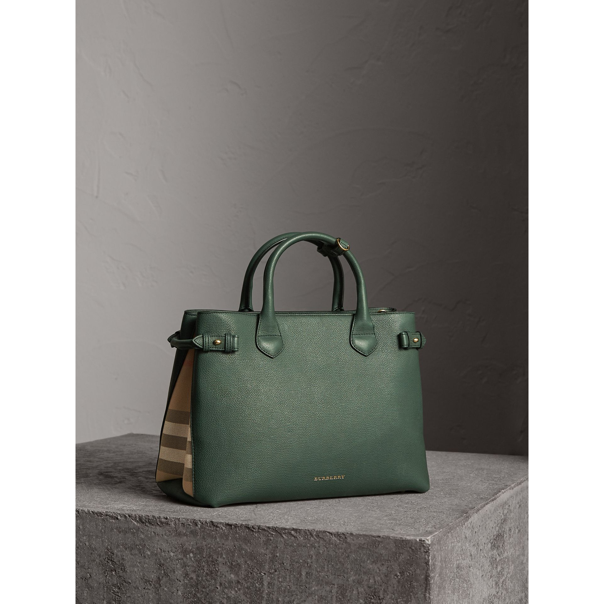 The Medium Banner in Leather and House Check in Dark Bottle Green - Women | Burberry - gallery image 1
