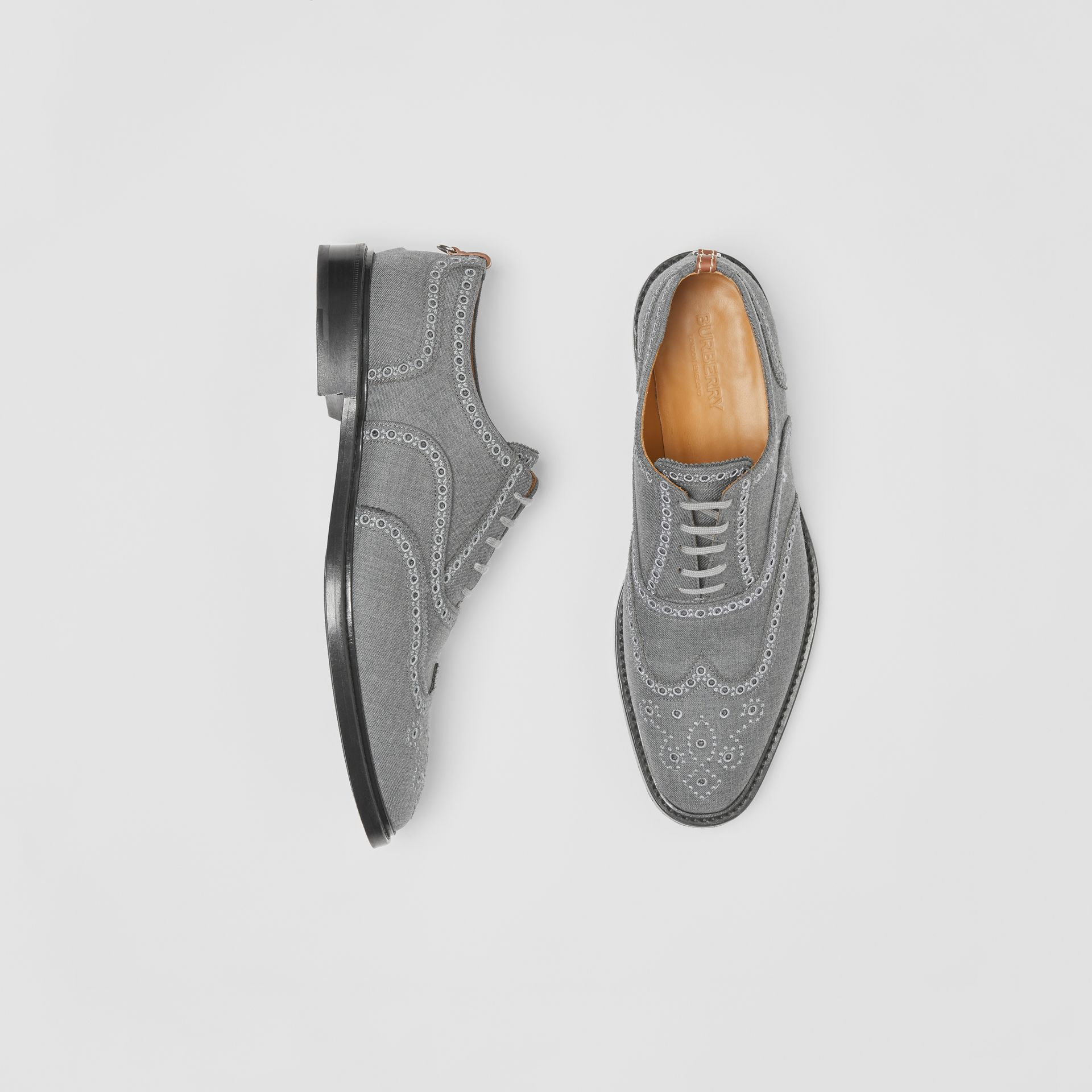 Embroidered Wool Brogues in Light Grey | Burberry United Kingdom - gallery image 0