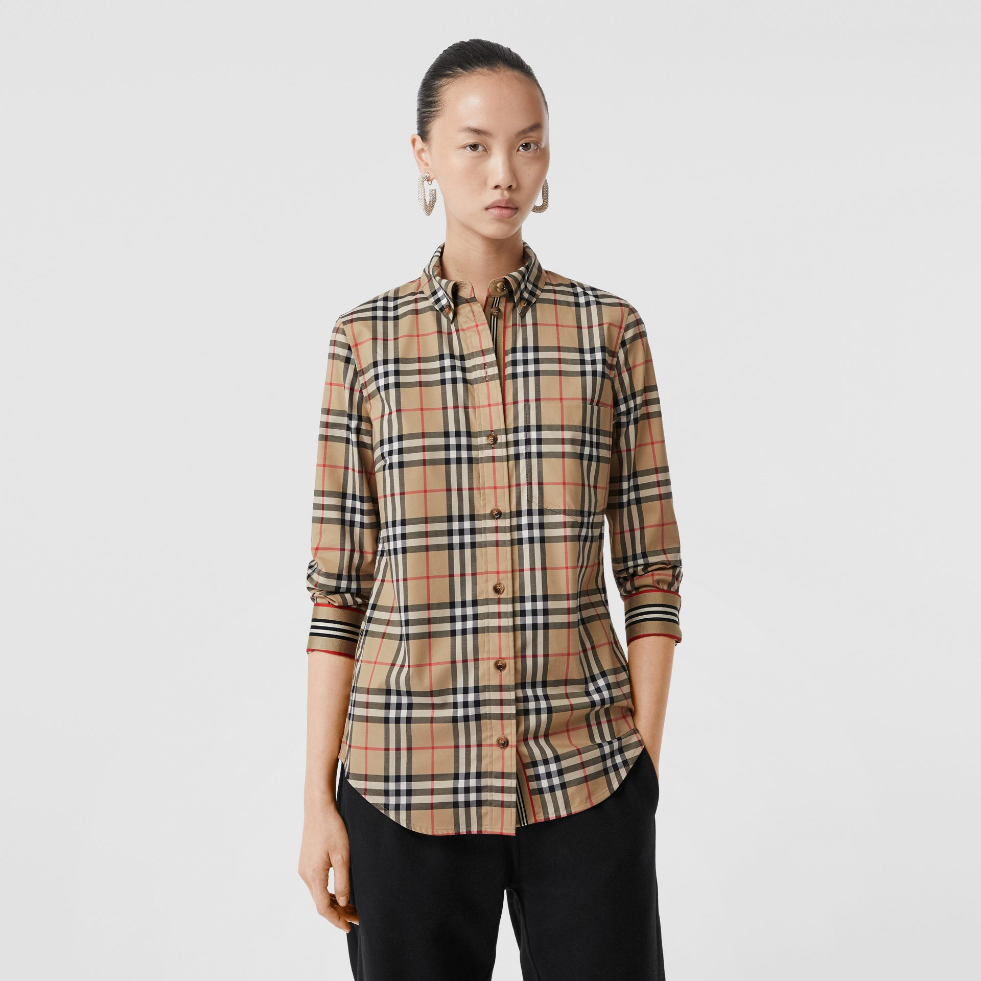 Button-down Collar Vintage Check Stretch Cotton Shirt in Archive Beige - Women | Burberry Singapore - gallery image 5