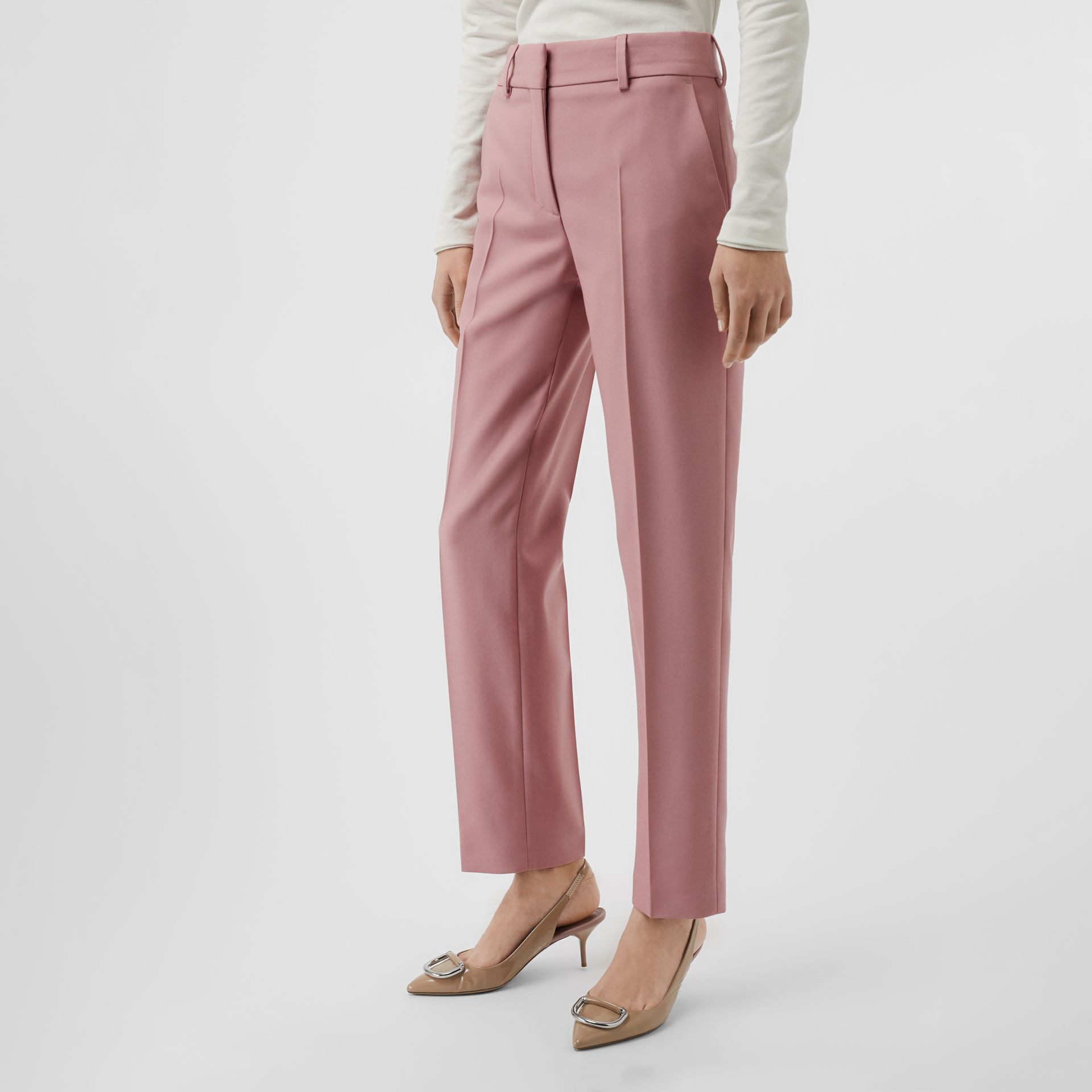 Straight Fit Wool Blend Tailored Trousers in Chalk Pink - Women | Burberry Singapore - gallery image 4