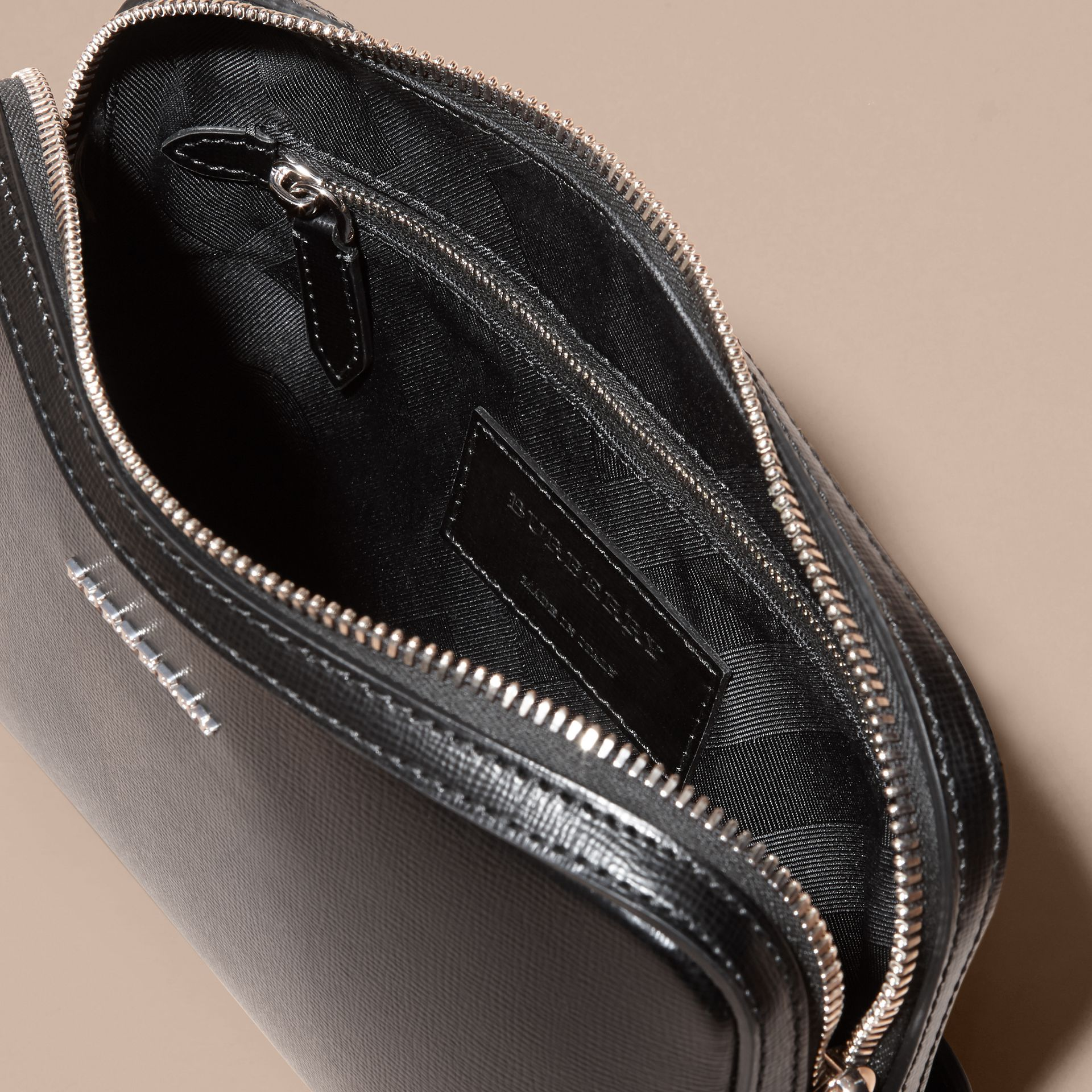 London Leather Pouch in Black - Men | Burberry Canada - gallery image 5