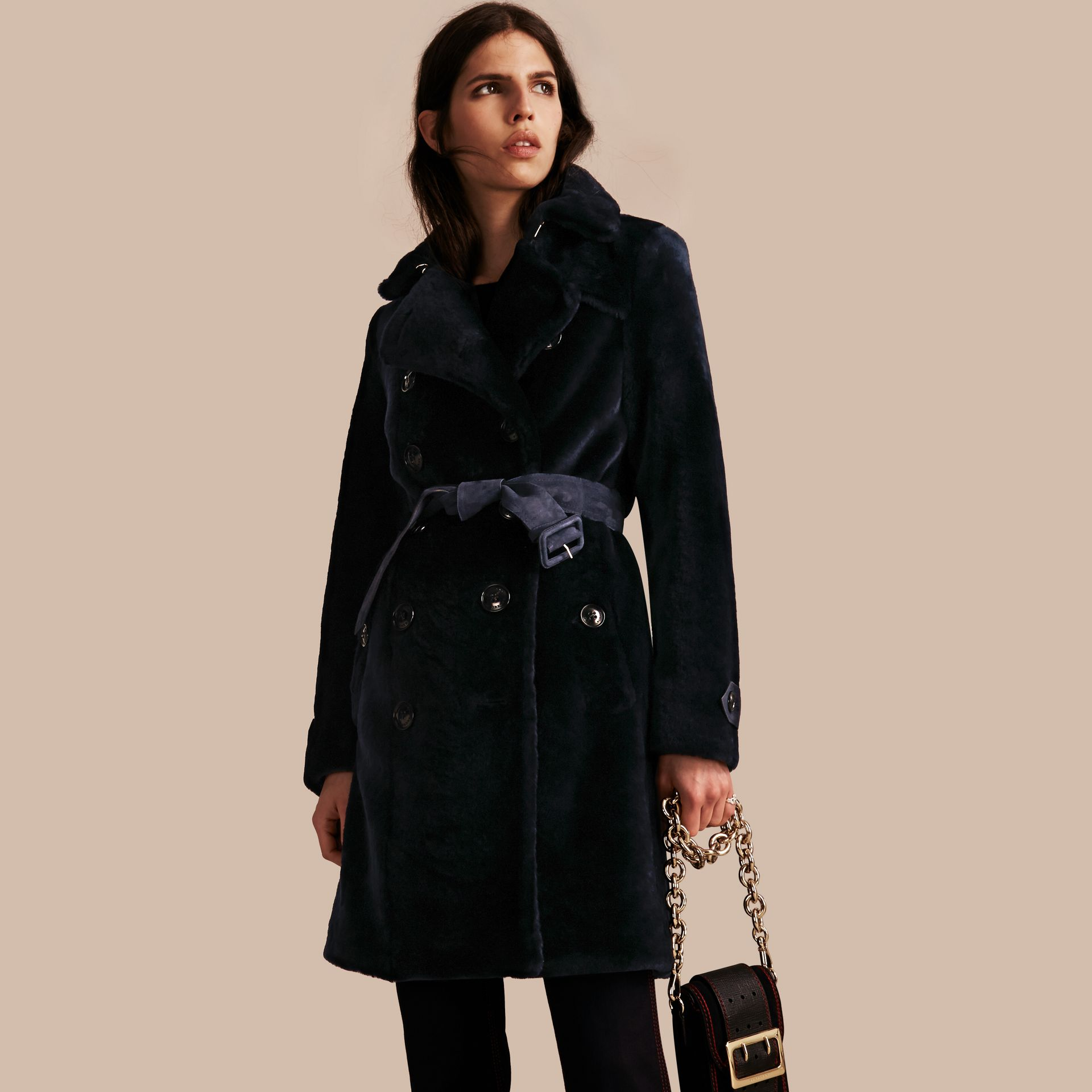 Navy Double-breasted Shearling Trench Coat - gallery image 1