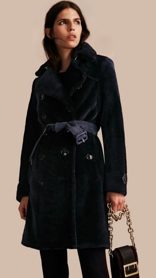 Double-breasted Shearling Trench Coat