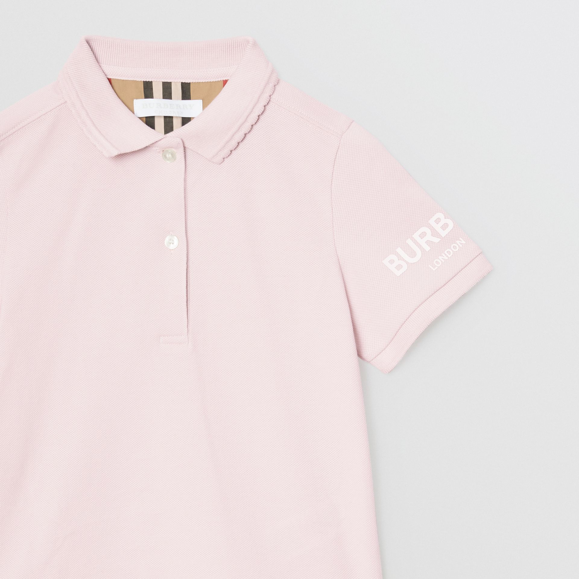 Logo Print Cotton Piqué Polo Shirt in Ice Pink | Burberry - gallery image 4