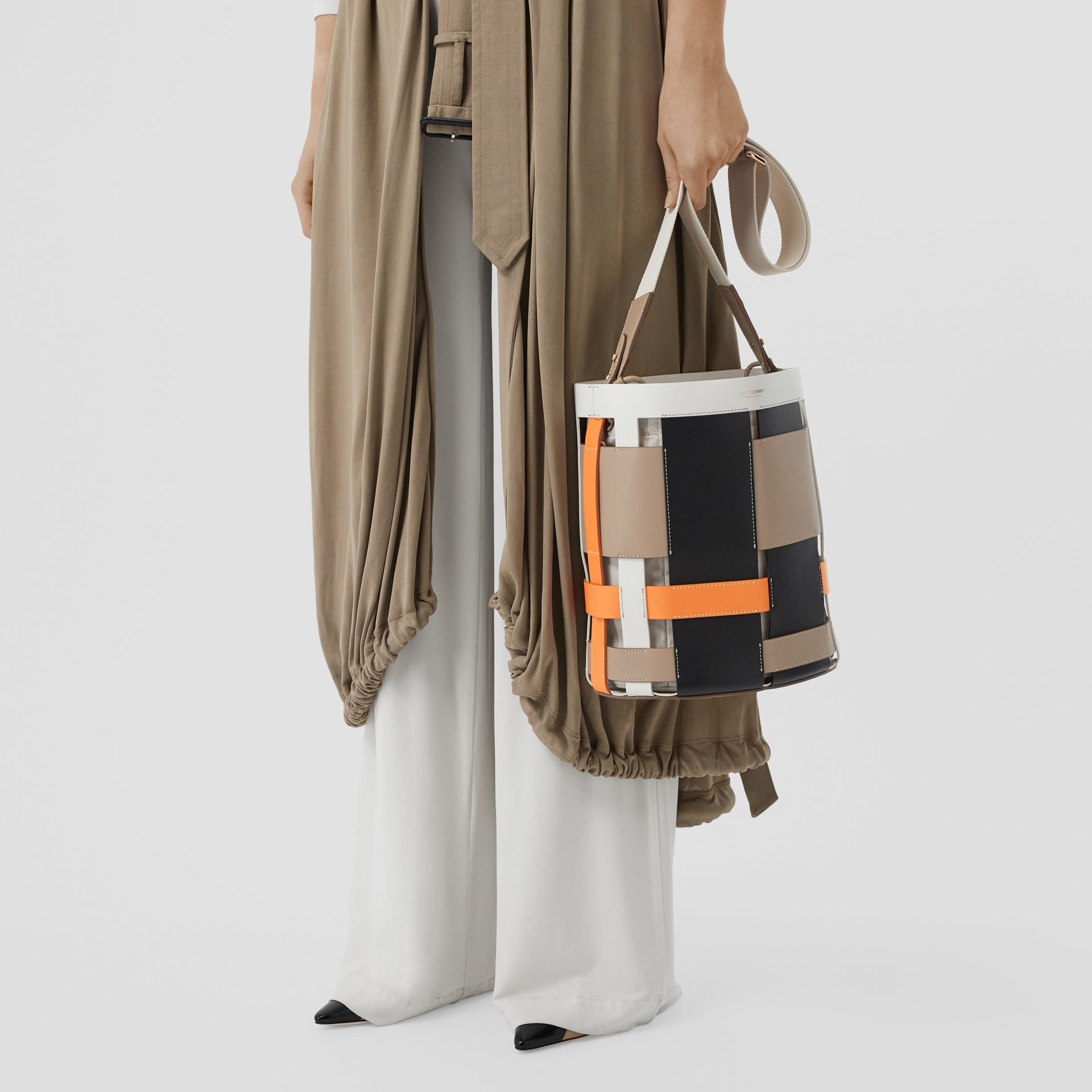 Small Leather Foster Bucket Bag in Honey - Women | Burberry - gallery image 2