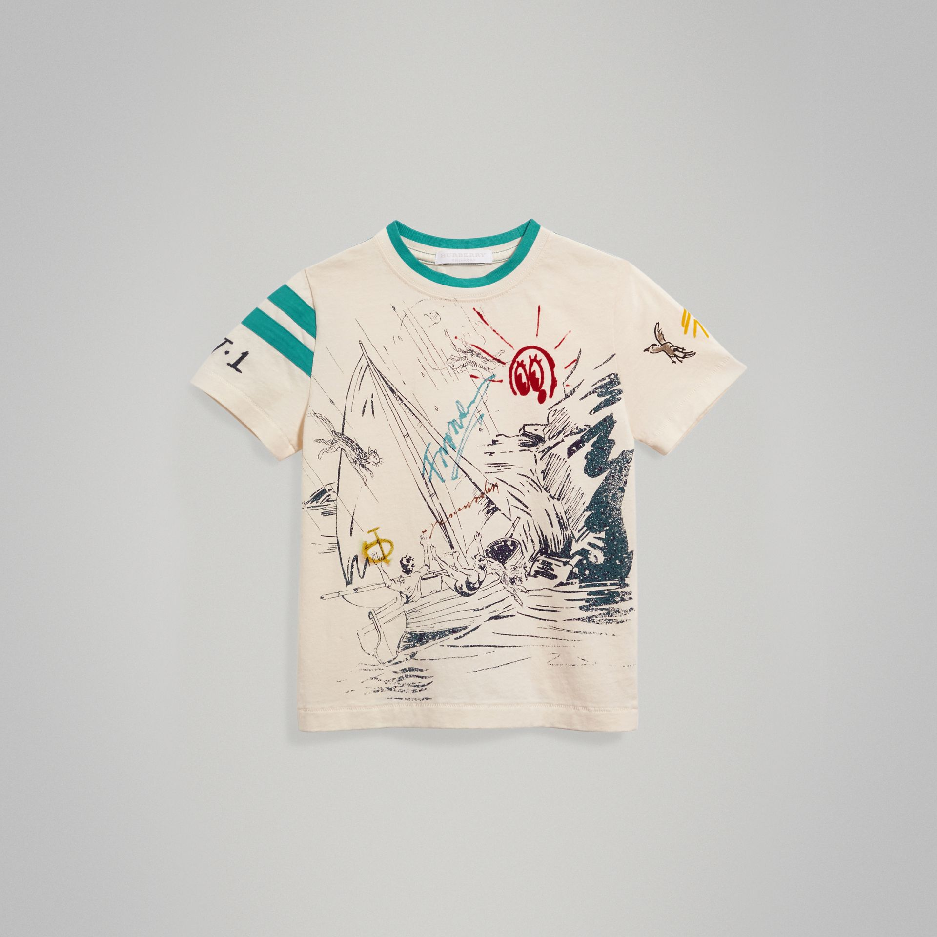 Adventure Motif Cotton T-shirt in White - Boy | Burberry - gallery image 0
