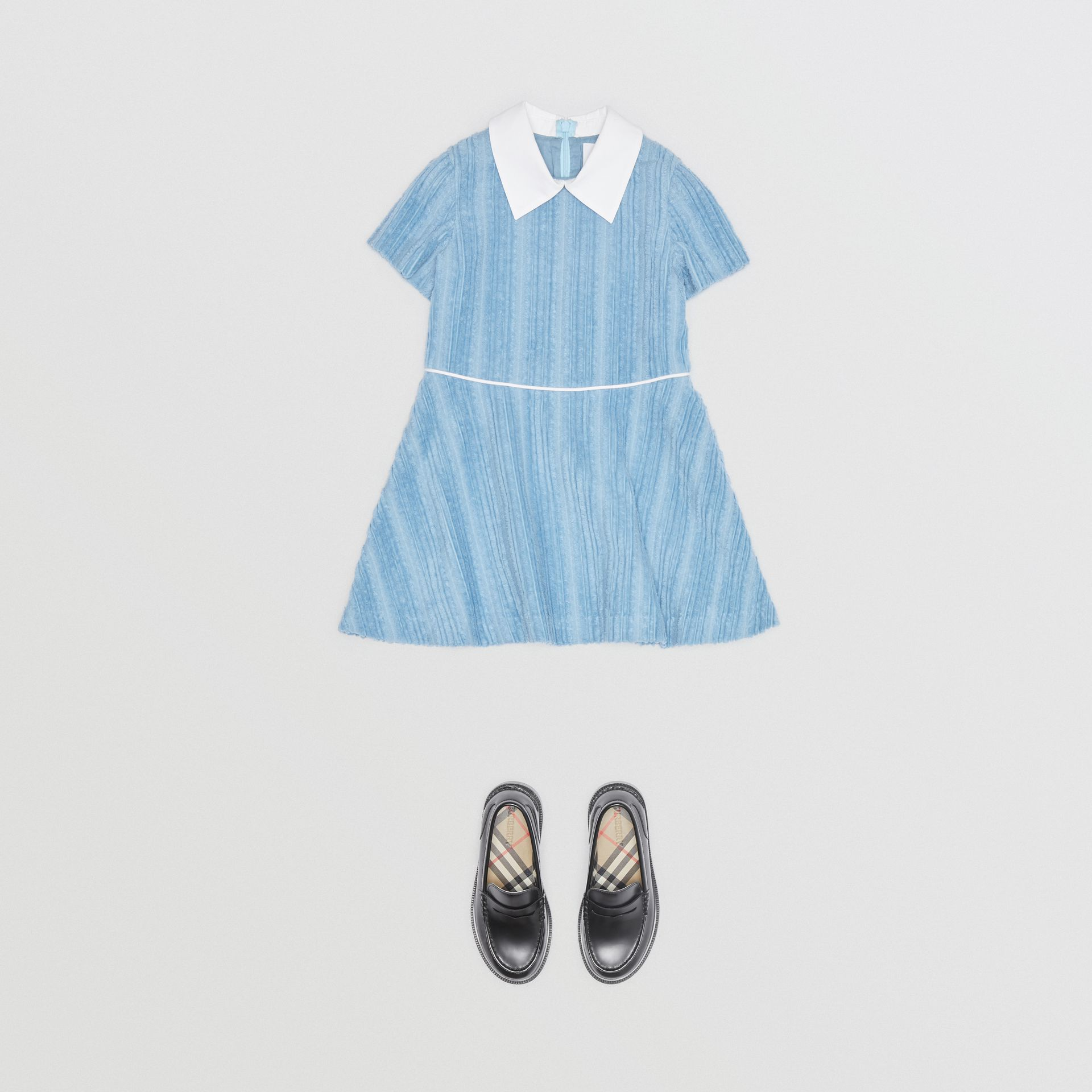 Peter Pan Collar Corduroy Dress in Powder Blue | Burberry - gallery image 2