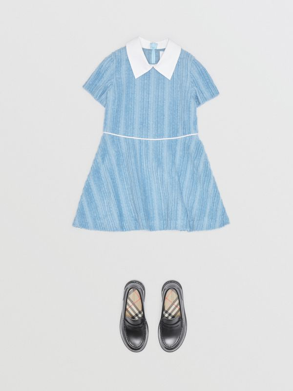 Peter Pan Collar Corduroy Dress in Powder Blue | Burberry - cell image 2