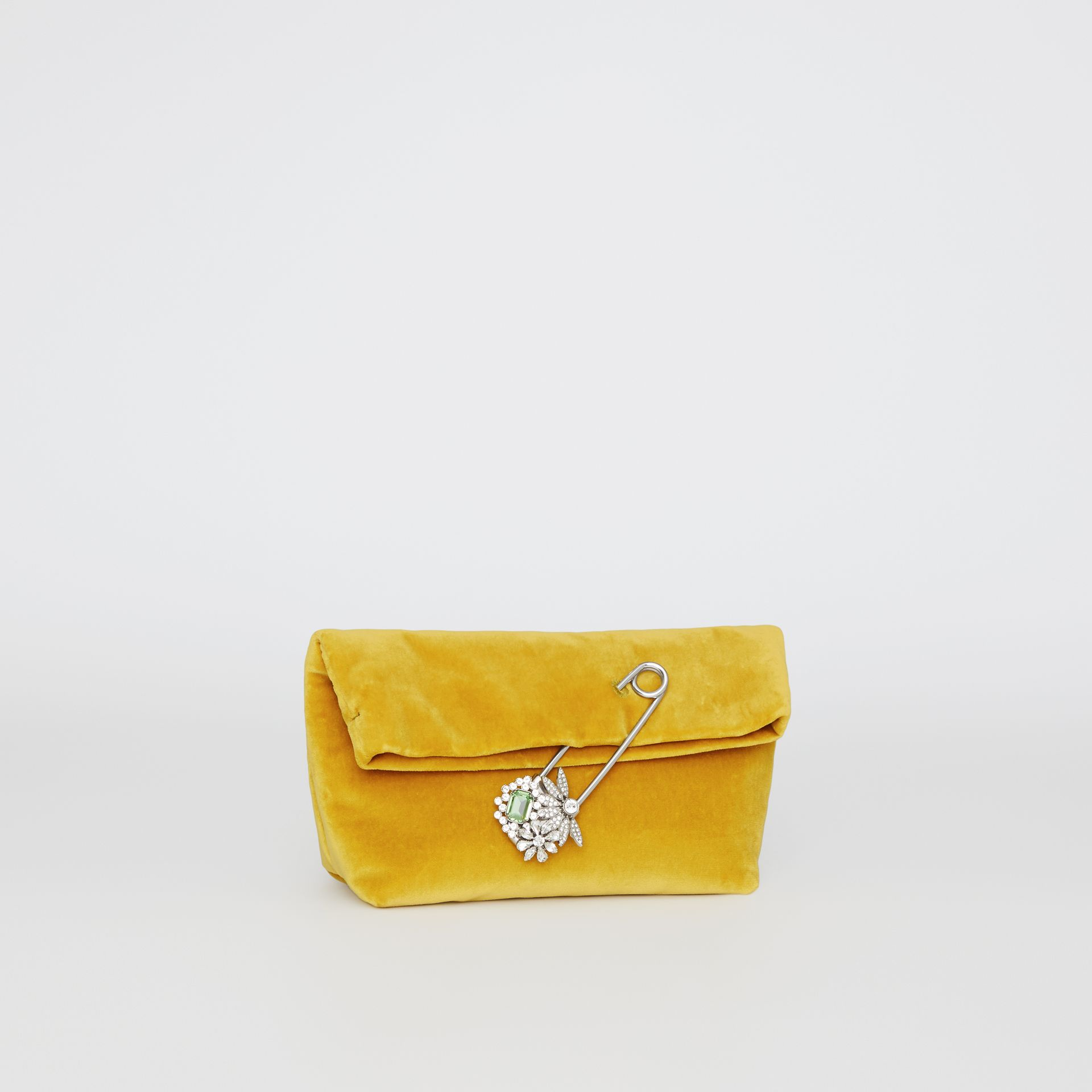 The Small Pin Clutch in Velvet in Larch Yellow - Women | Burberry United Kingdom - gallery image 3