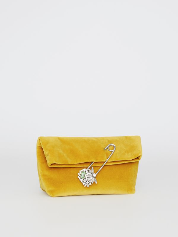 The Small Pin Clutch in Velvet in Larch Yellow - Women | Burberry United Kingdom - cell image 3