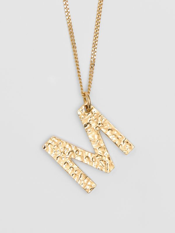 'M' Alphabet Charm Gold-plated Necklace in Light - Women | Burberry United Kingdom - cell image 3