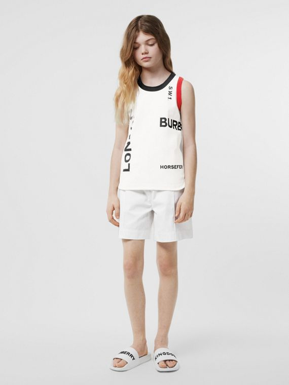Logo Print Cotton Vest in White