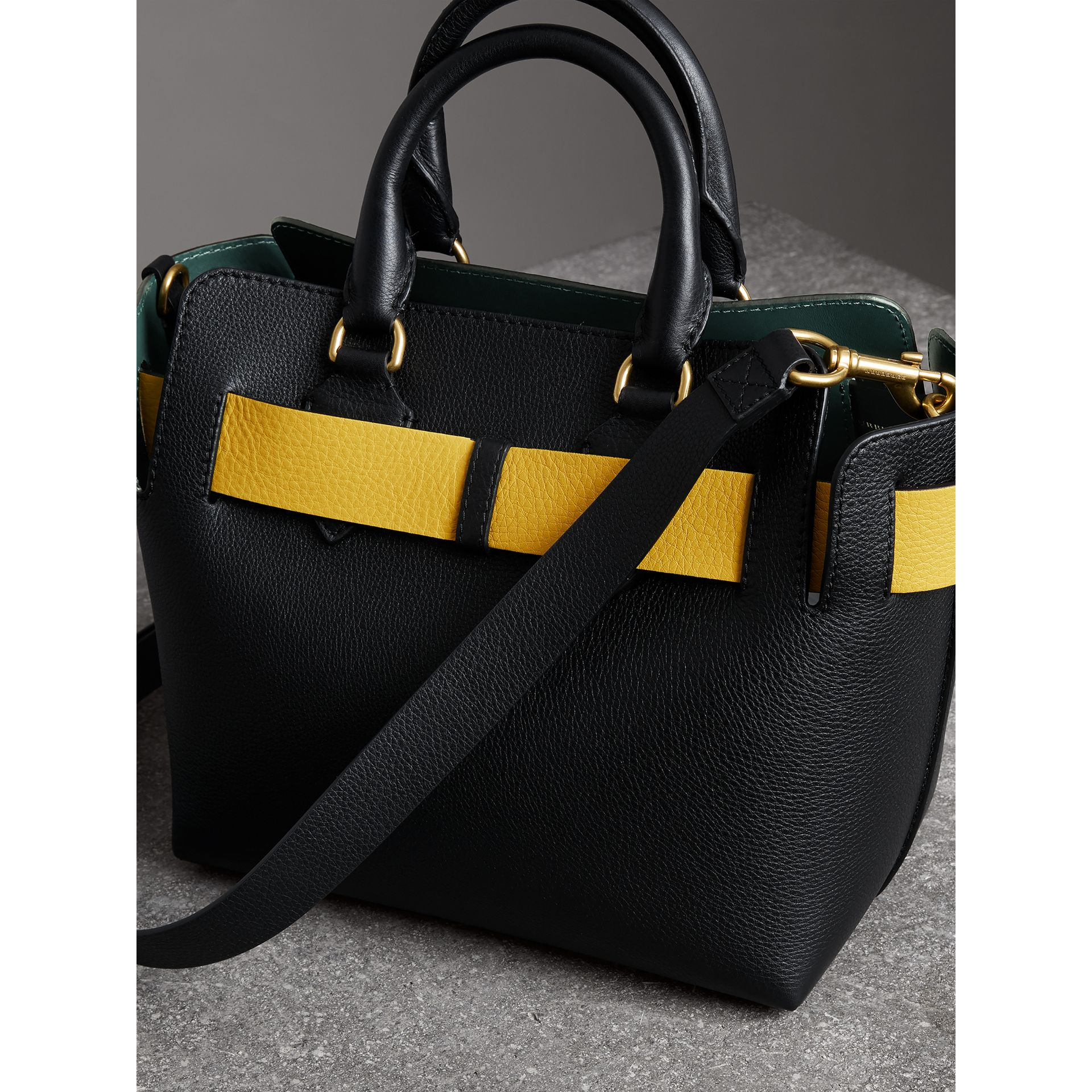 The Small Leather Belt Bag in Black/yellow - Women | Burberry - gallery image 4