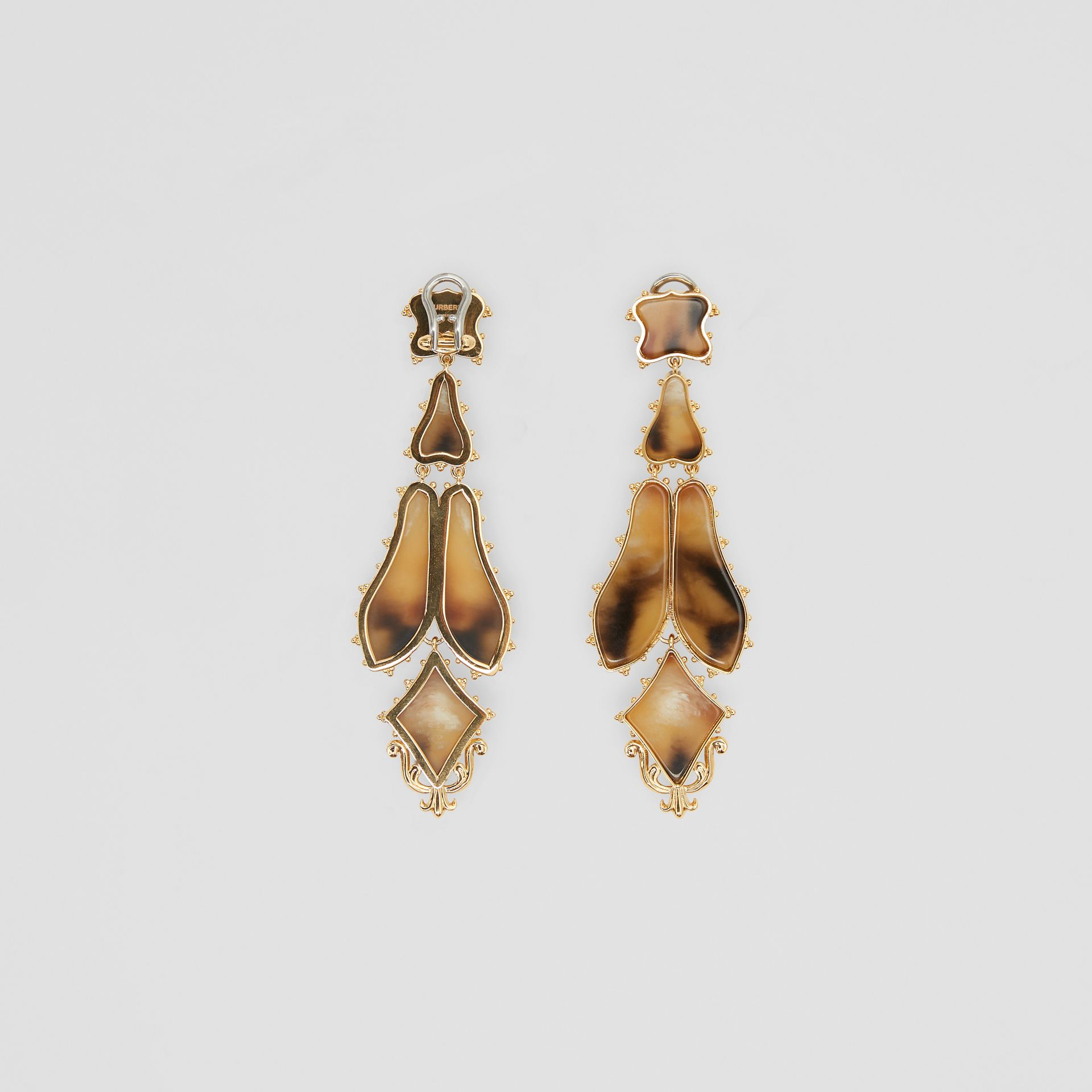 Resin and Gold-plated Drop Earrings in Light Gold/horn - Women | Burberry United States - gallery image 3
