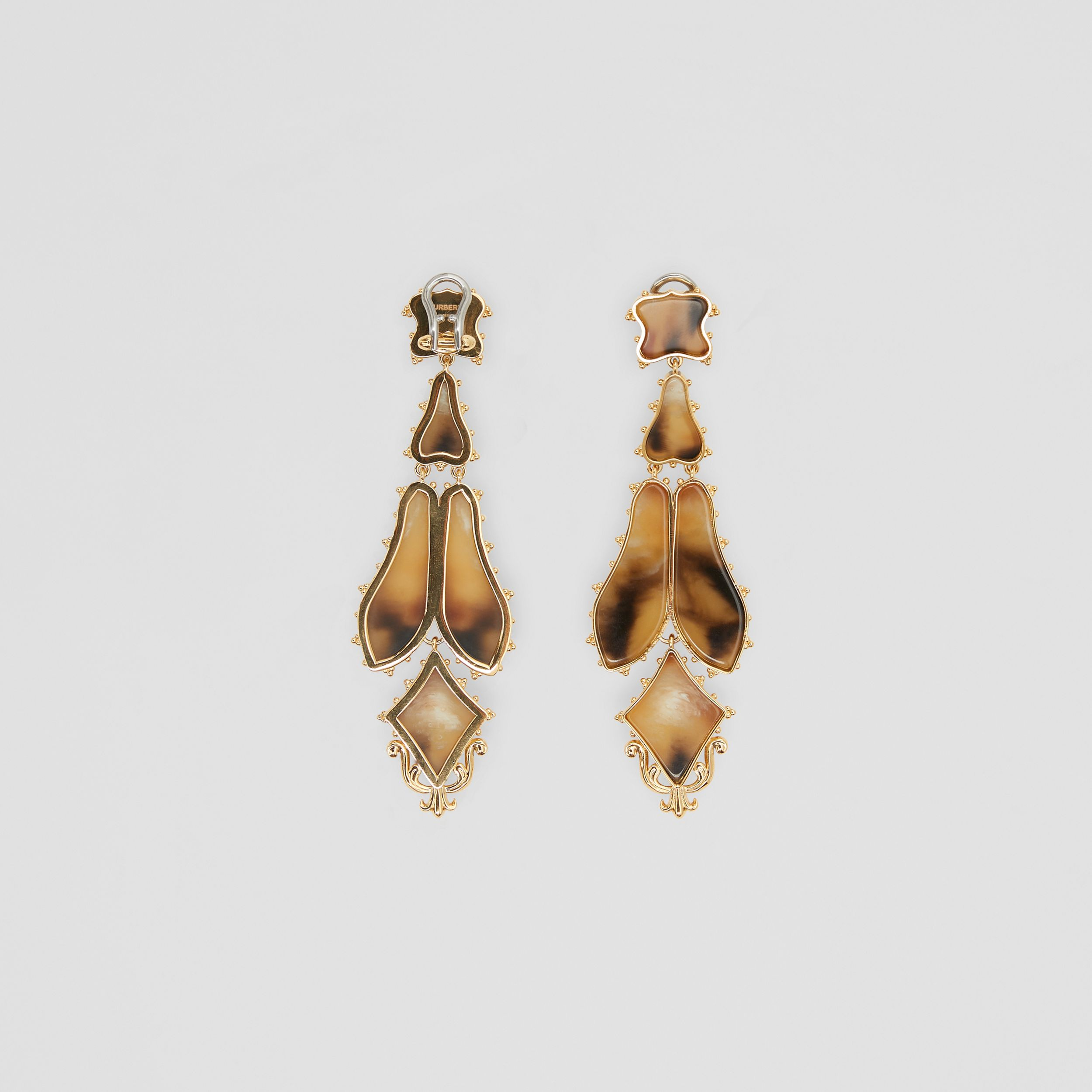 Resin and Gold-plated Drop Earrings in Light Gold/horn - Women | Burberry - 3