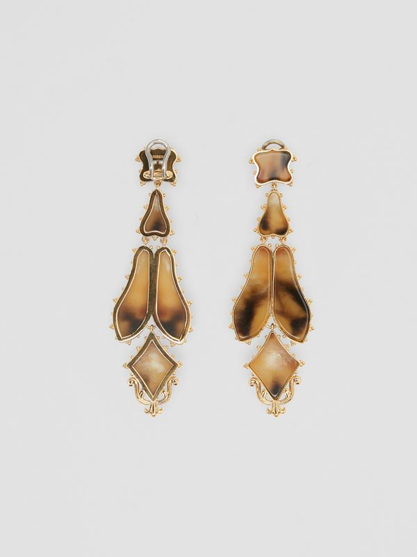 Resin and Gold-plated Drop Earrings in Light Gold/horn - Women | Burberry - cell image 2