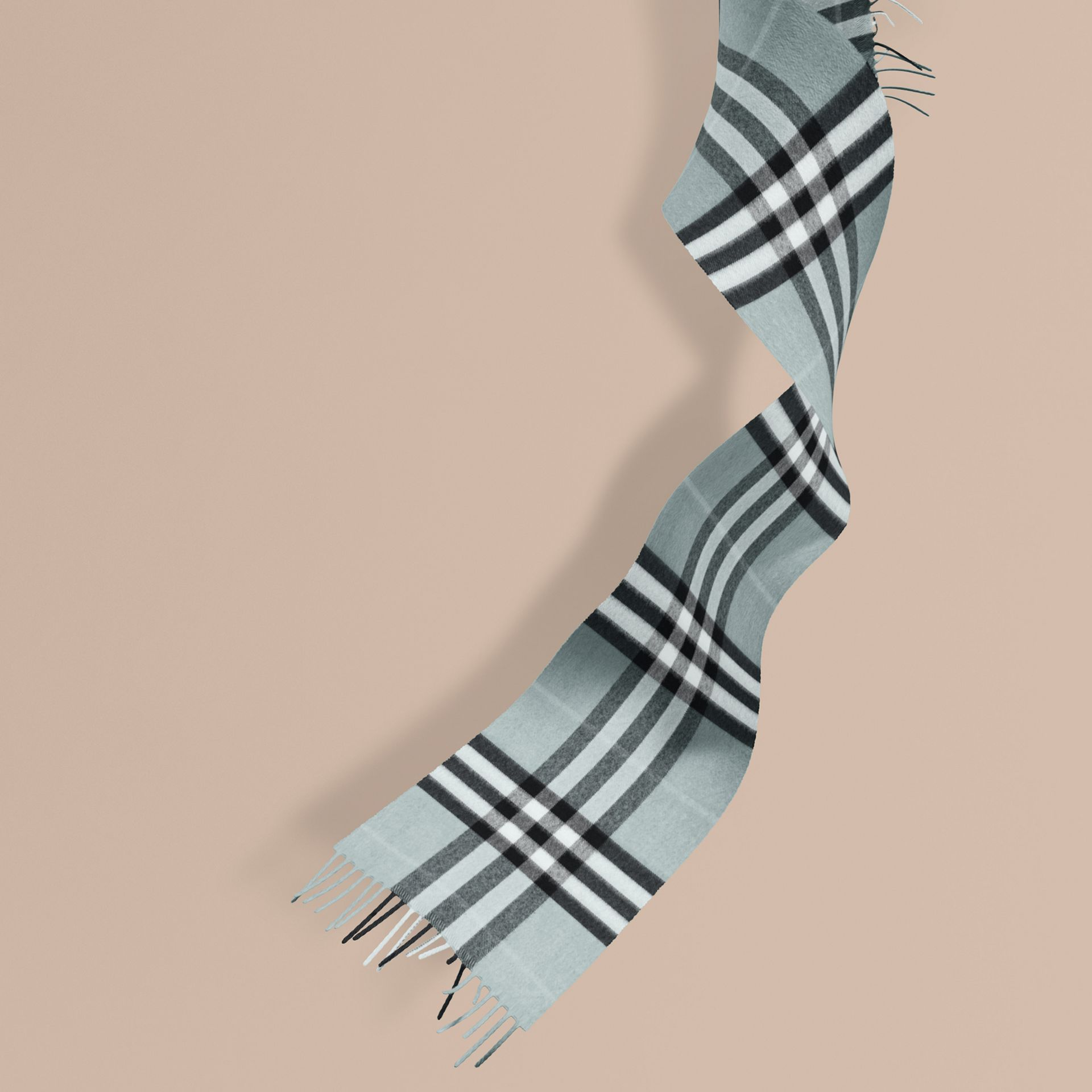 The Mini Classic Cashmere Scarf in Check in Dusty Mint | Burberry - gallery image 1