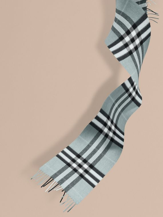 The Mini Classic Cashmere Scarf in Check in Dusty Mint | Burberry